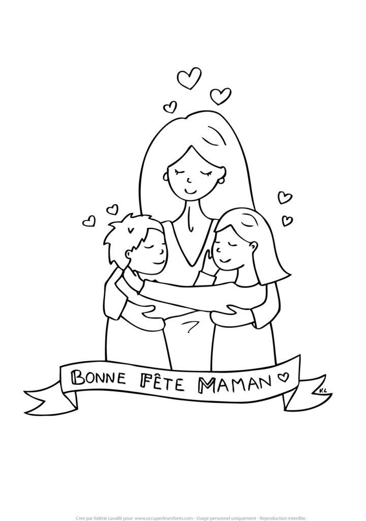 Coloriage Fete Des Meres Maman D 1 Fille Et 1 Garcon Occuper Les Enfants