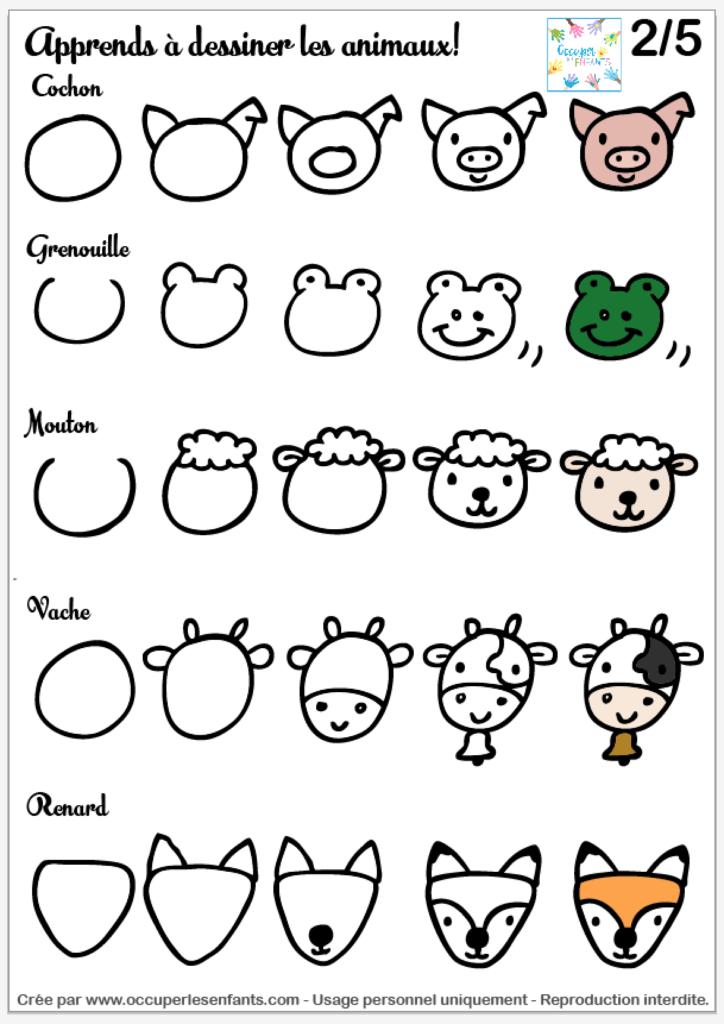 Comment Dessiner Des Animaux Doodles Tete D Animal Facile Occuper Les Enfants