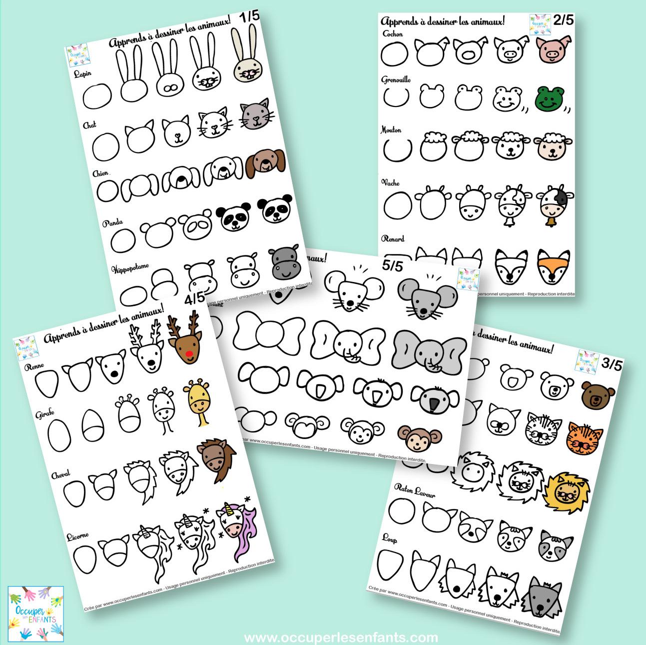 Comment dessiner des animaux (doodles tête d'animal facile)