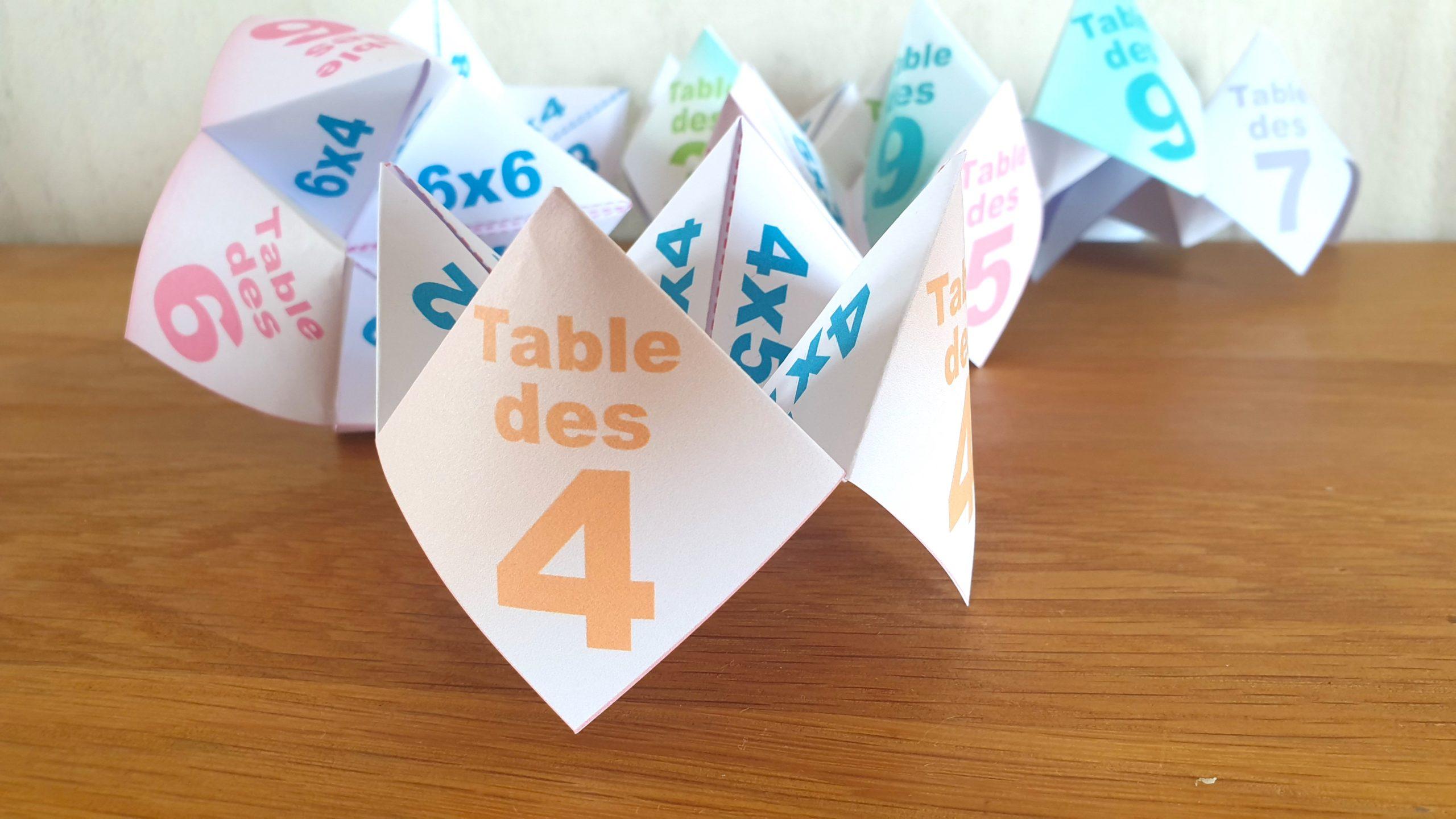 COCOTTE EN PAPIER: TABLE DES 4 (APPRENDRE LES MULTIPLICATIONS)