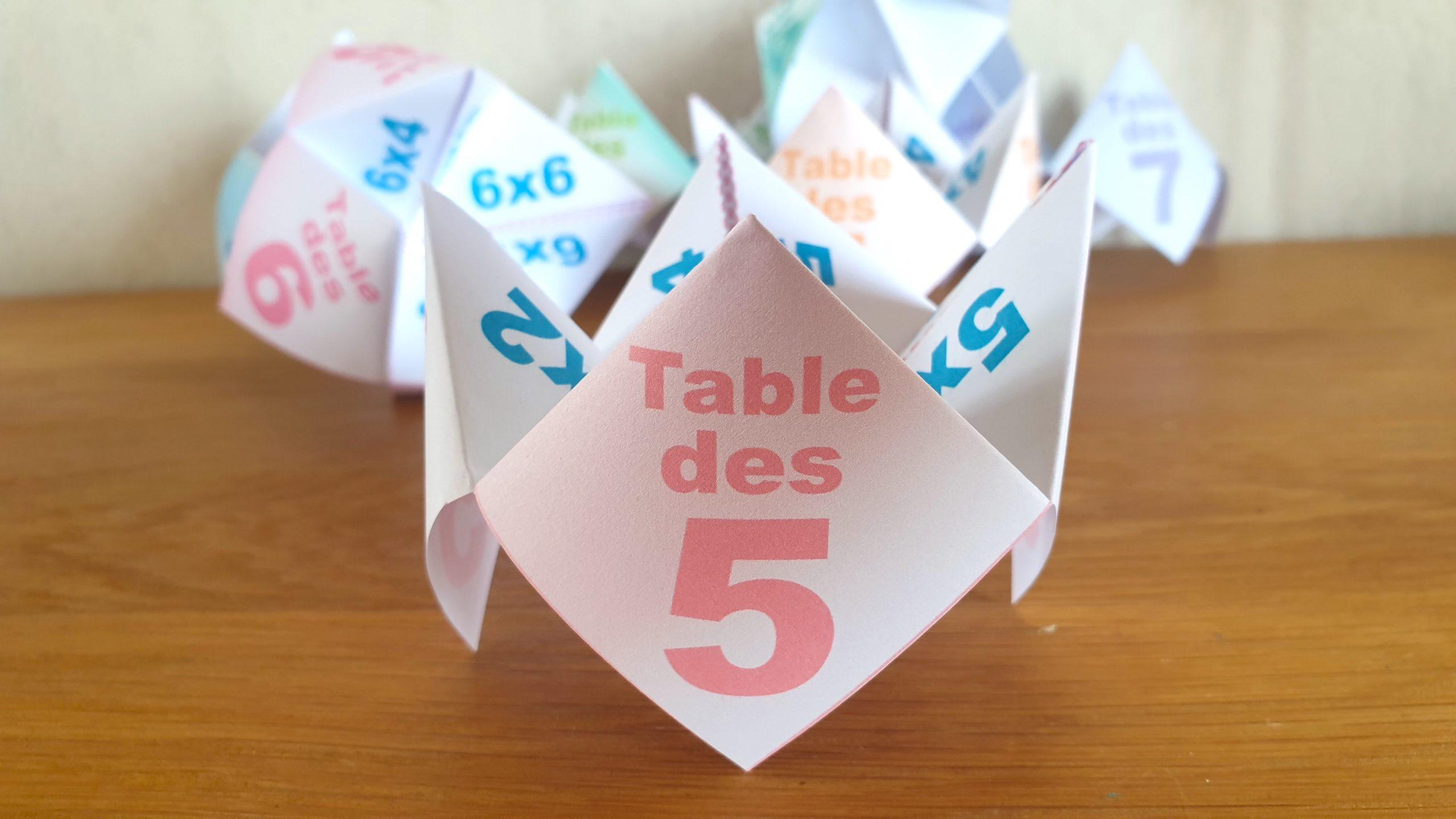 COCOTTE EN PAPIER: TABLE DES 5 (APPRENDRE LES MULTIPLICATIONS)