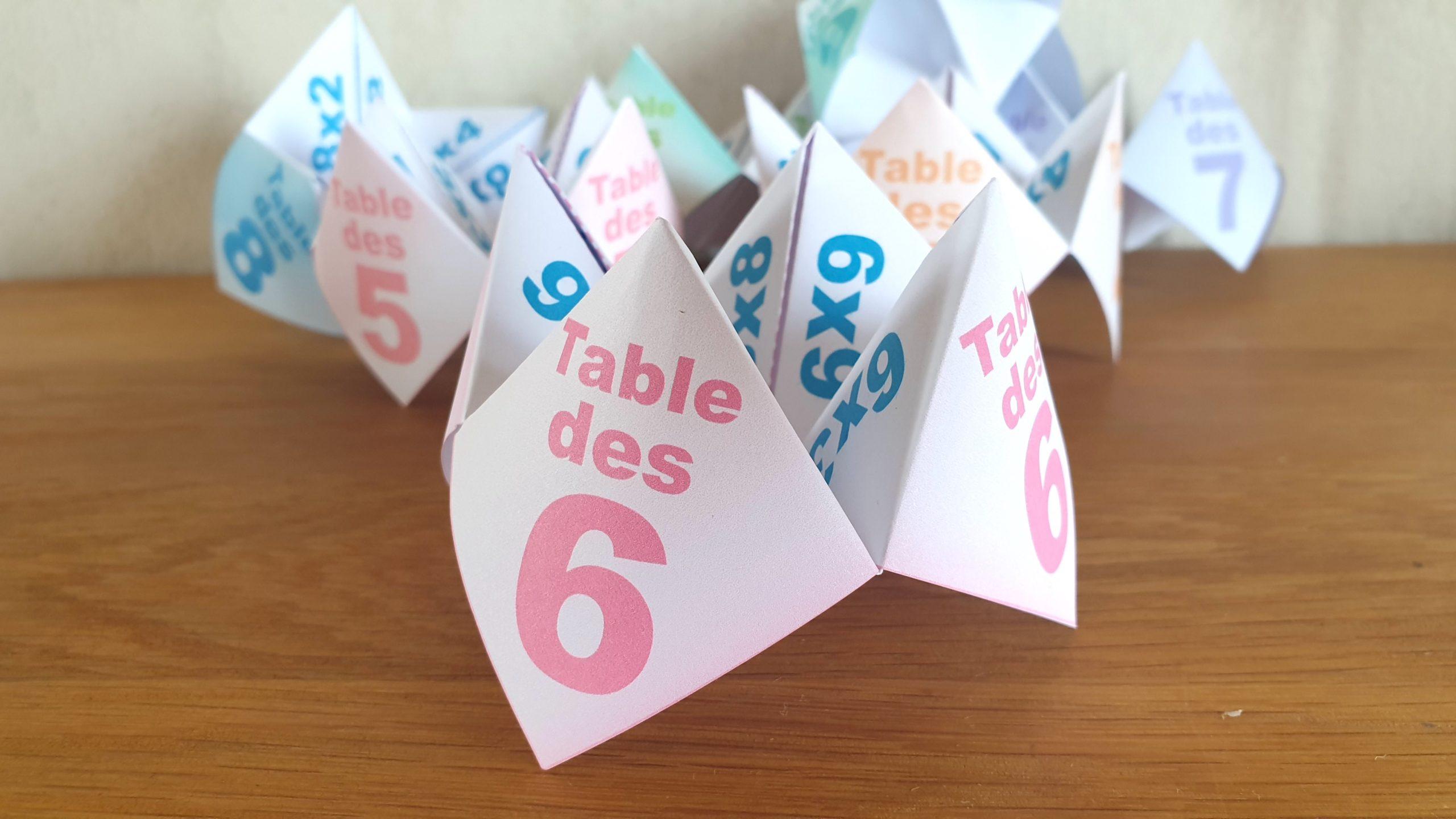 COCOTTE EN PAPIER: TABLE DES 6 (APPRENDRE LES MULTIPLICATIONS)