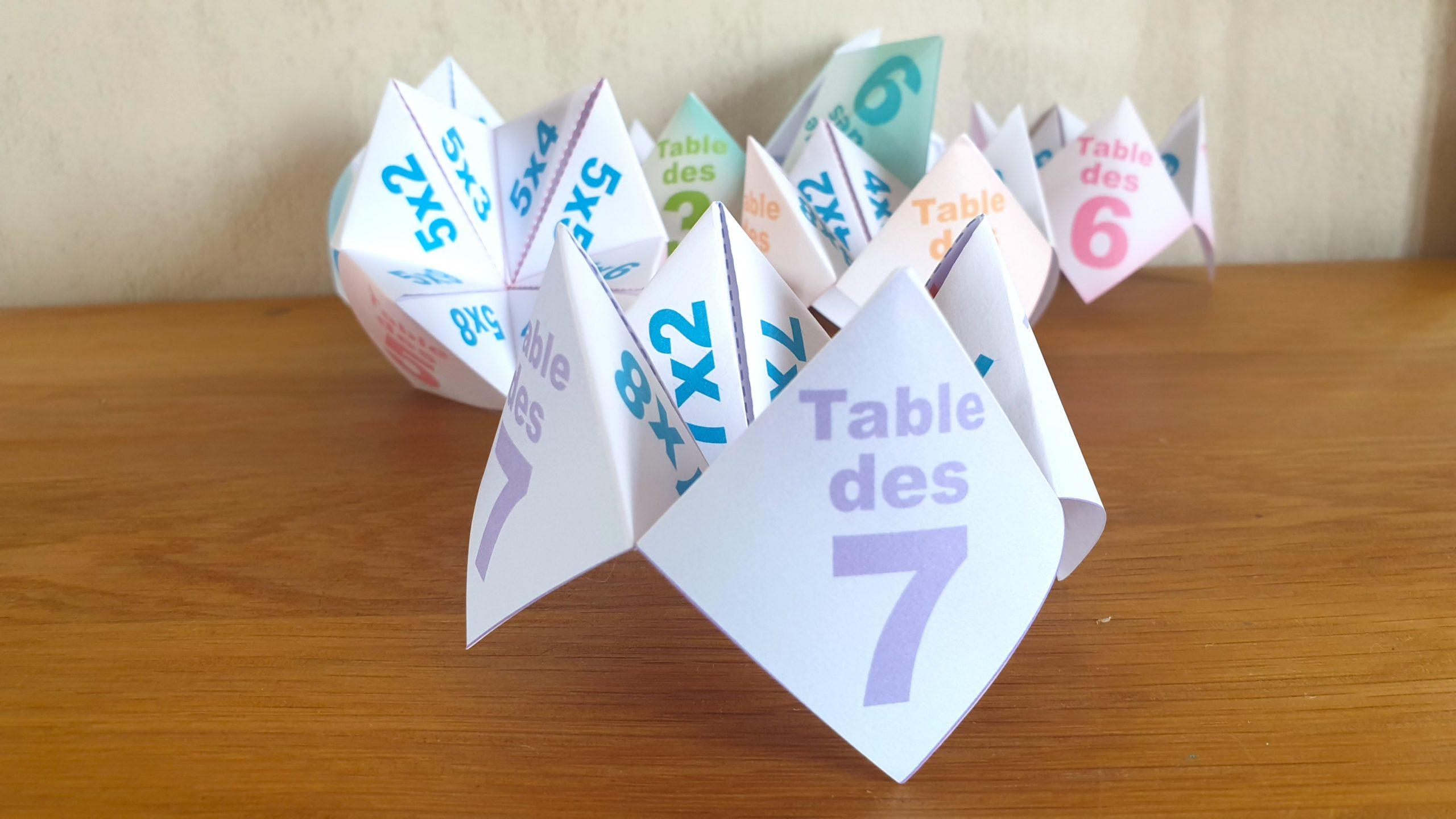 COCOTTE EN PAPIER: TABLE DES 7 (APPRENDRE LES MULTIPLICATIONS)