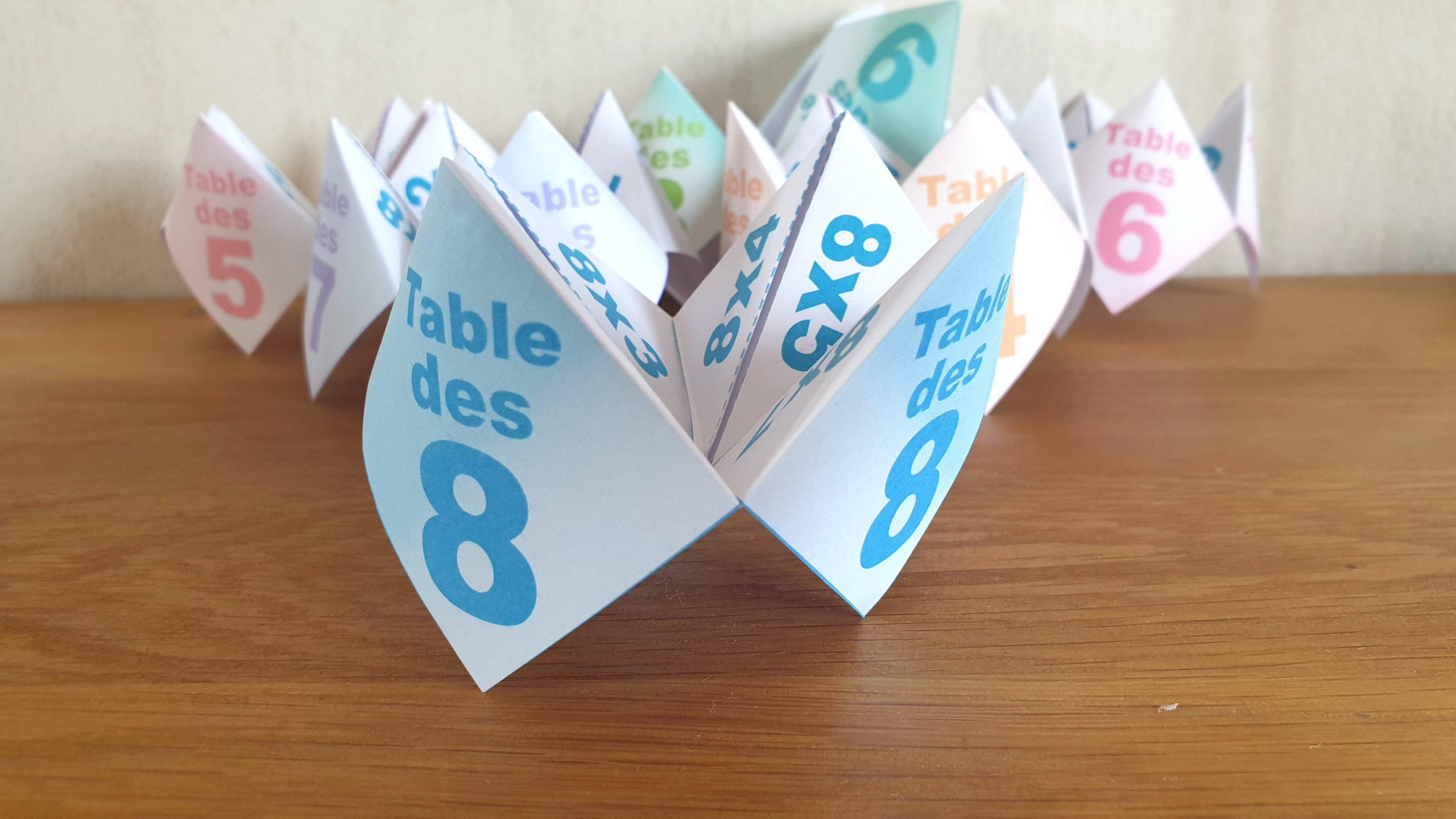 COCOTTE EN PAPIER: TABLE DES 8 (APPRENDRE LES MULTIPLICATIONS)