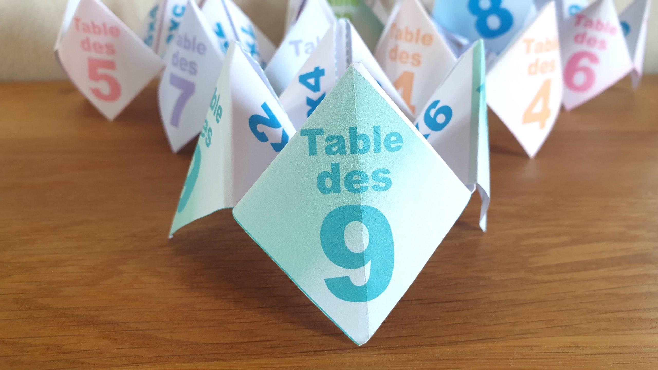 COCOTTE EN PAPIER: TABLE DES 9 (APPRENDRE LES MULTIPLICATIONS)